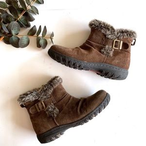 Khombu Lindsay Brown Leather Fur Lined Snow Boot